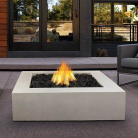 Real Flame 42 25 In W 65000 Btu Antique White Concrete Liquid Propane Fire Pit Lowes Com Propane Fire Pit Table Gas Firepit Square Fire Pit