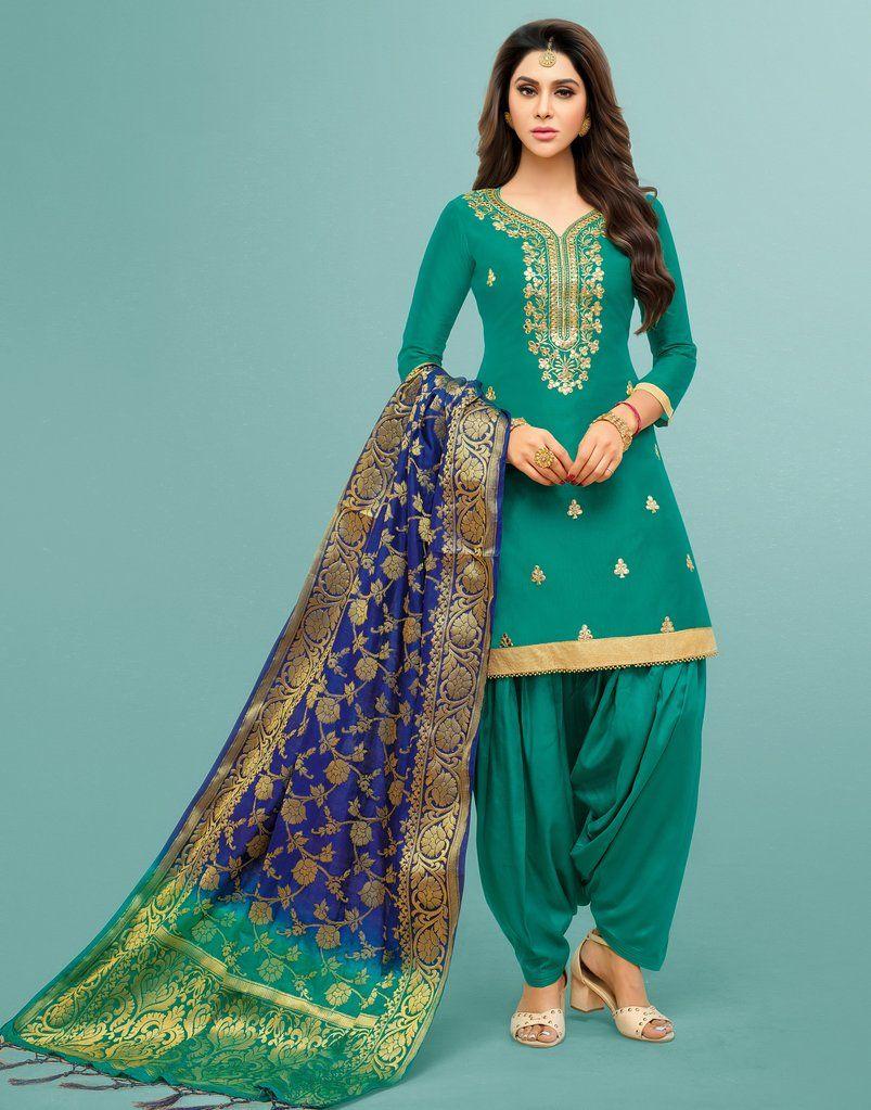 c87ca28b1f Teal Art Silk Patiala Salwar Kameez Suit (Semi-Stitched) Salwar Kameez  Online,