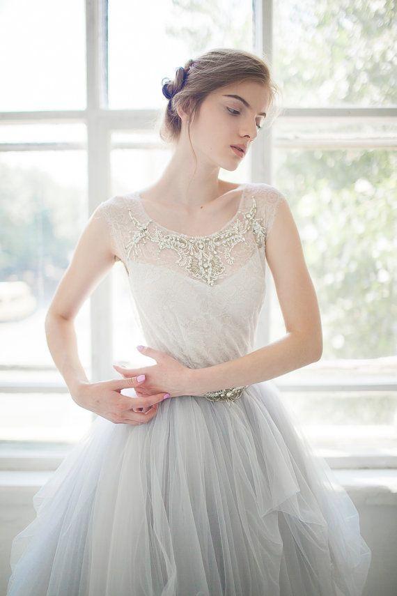 Tulle wedding gown // Gardenia / icy gray wedding dress, silver grey ...