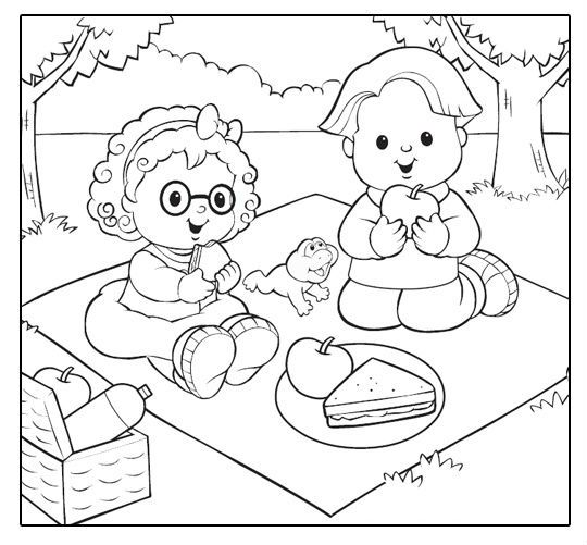 Fisher price picnic fisher price coloring pages for Picnic scene coloring page