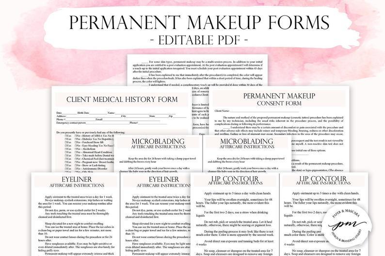 Editable Permanent Makeup Consent Forms, Customizable