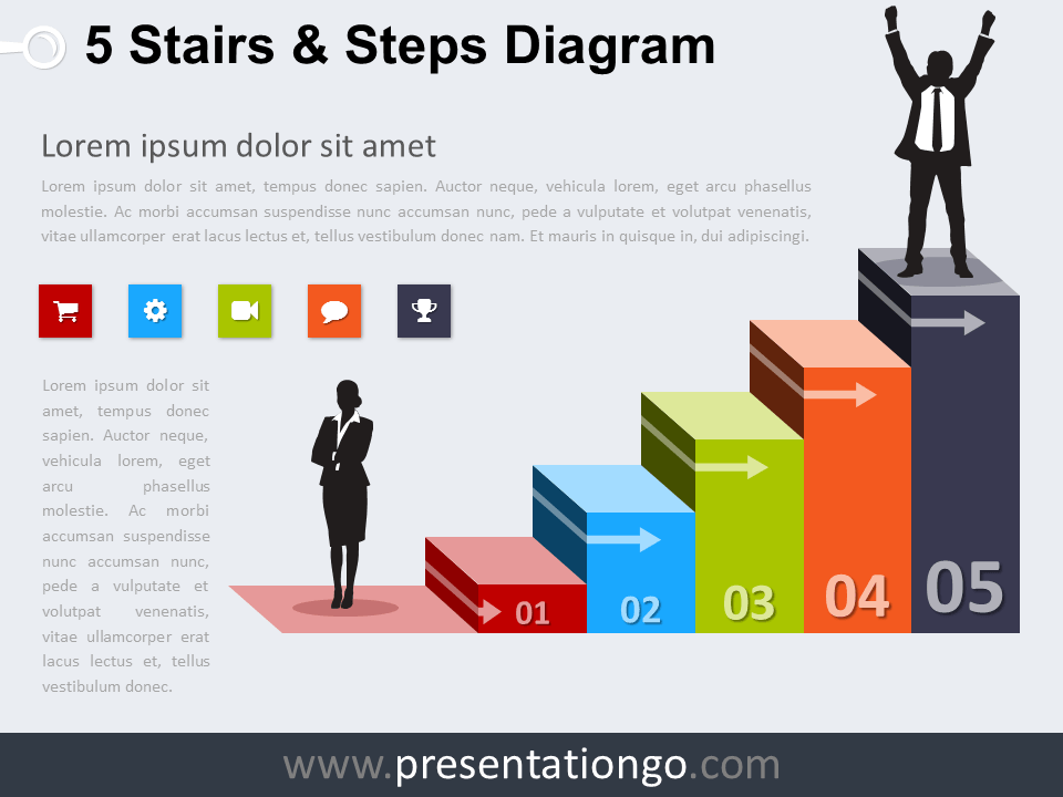 free editable 5 stairs and steps powerpoint diagram