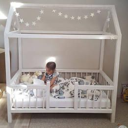 Toddler bed twin size, baby bed, children bed, Montessori wooden house, nursery images