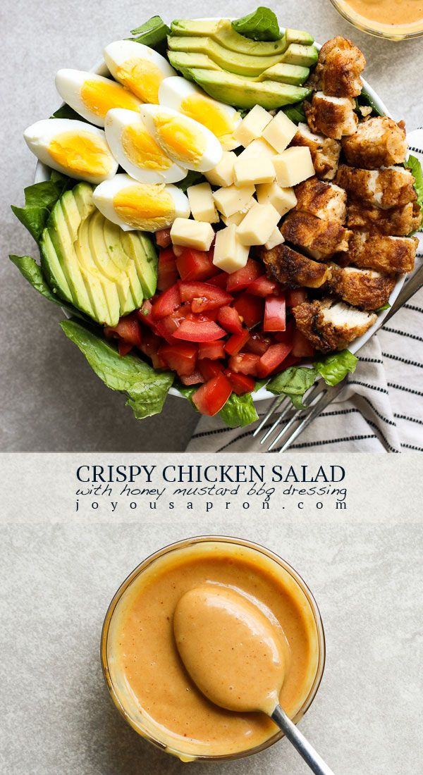 Photo of Crispy Chicken Salad with Homemade Honey Mustard BBY Dressing