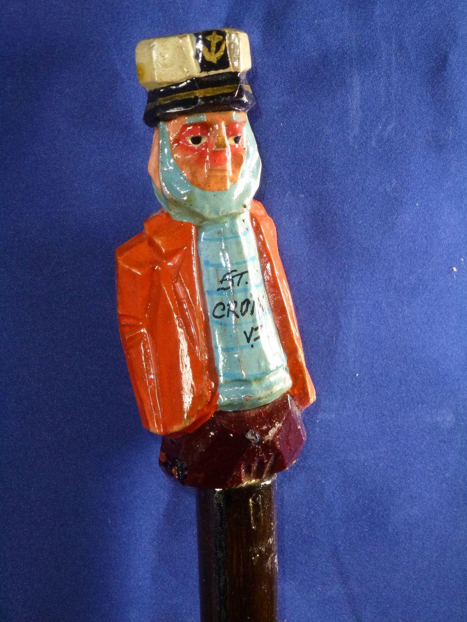 Vintage carved sea captain cane  s st croix virgin