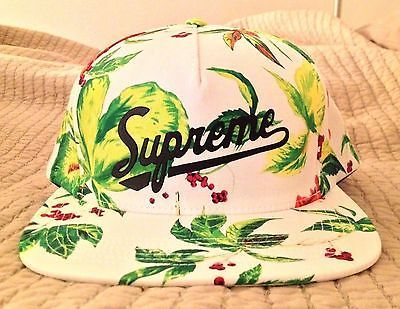 daa58b1a827 Supreme Currant 5-Panel Cap White Adjustable Snapback New Floral Hat SS 2015
