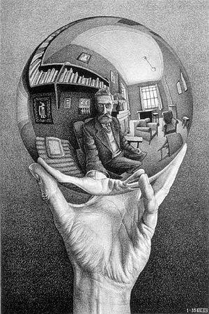 """Escher, """"Hand with Reflecting Sphere"""" (1935, lithograph)"""