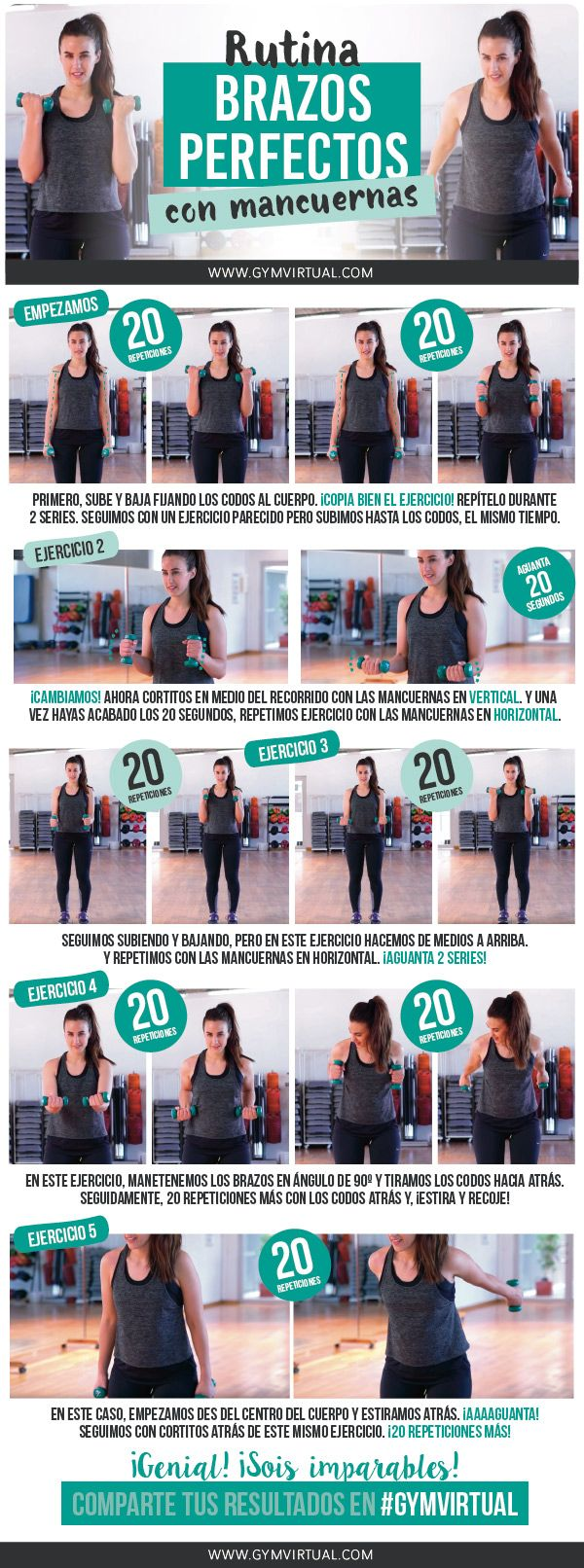 ejercicios brazos mancuernas mujer