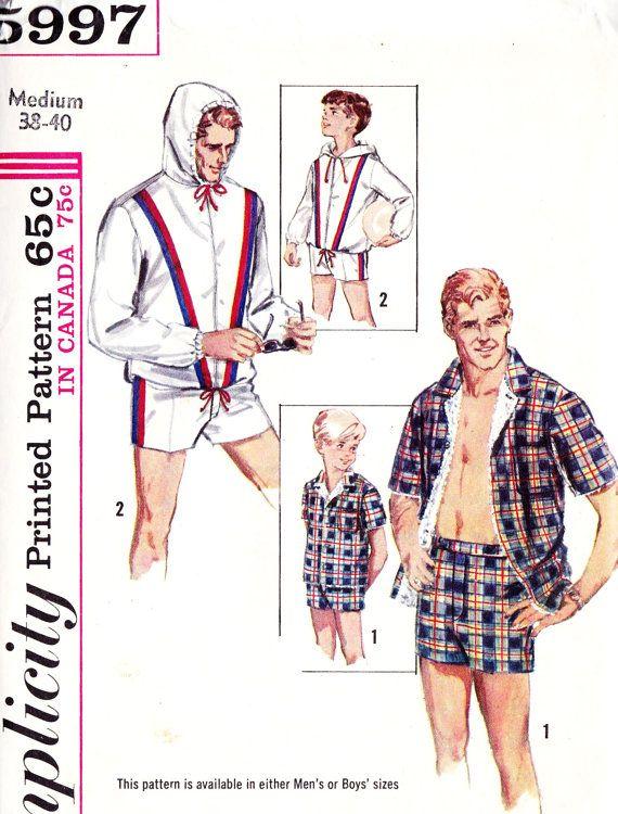 1960s Men\'s Cabana Set Vintage Sewing Pattern, Jacket, Swimming ...