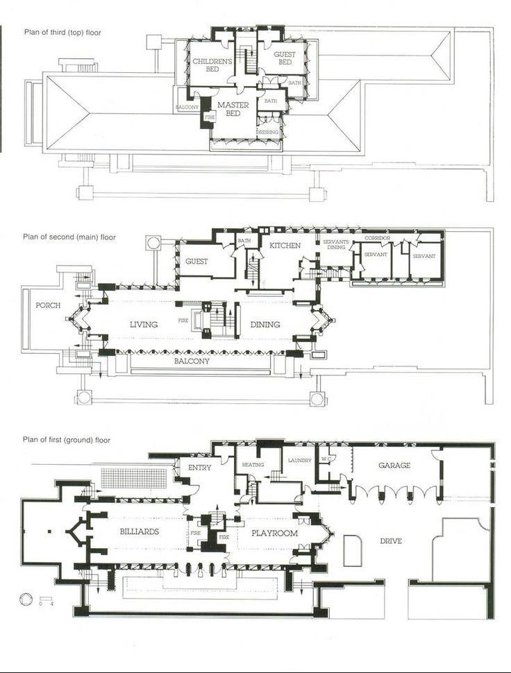 Frederick c robie house plans vintage architectural for Frank lloyd wright blueprints houses
