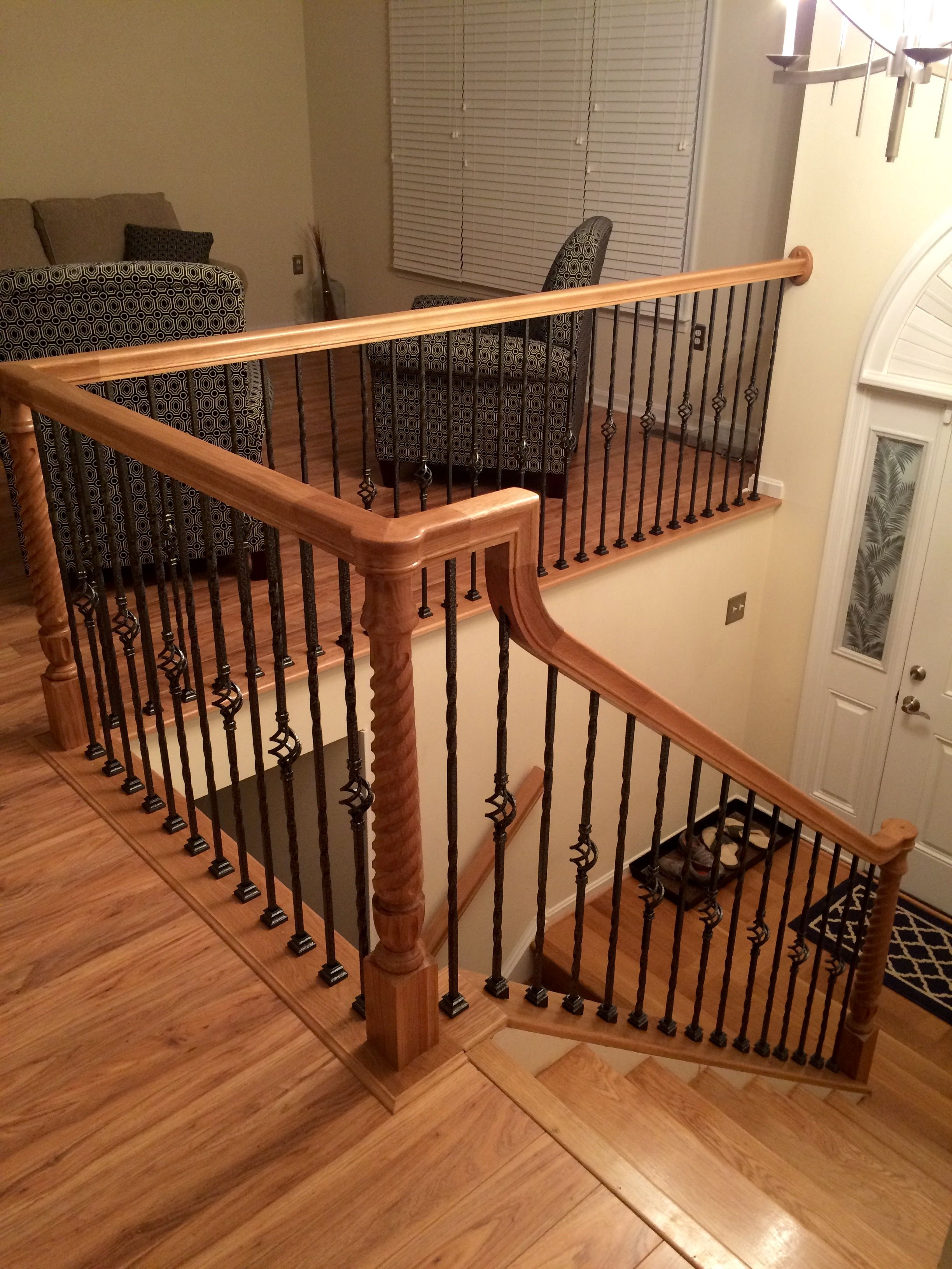 Virginia Stair Builder. Custom Stairs. White Oak Stairs With Black And  Silver Hammered Iron Twist Balusters. Stairways By Clarence Rogers,  Fredericksburg, ...