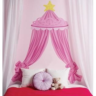 Pink Canopy Headboard Mural- Wallies    Affordable and adorable spin on the traditional headboard!