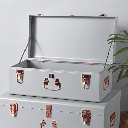 Beautify Set of 2 Vintage-Style Steel Bedroom Storage Trunks ...