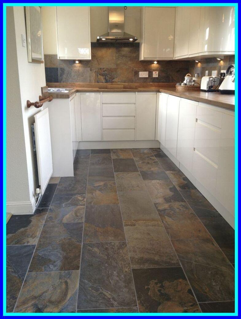 wood look tile floor in 2020 Slate kitchen, Trendy