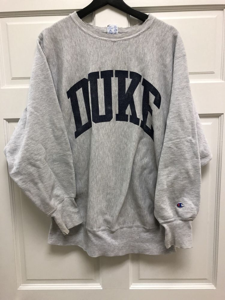 Vintage Champion Duke University Crewneck Sweatshirt Grey Free Shipping  0a167b672