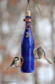 "Rebecca's Bird Gardens Blog: Wine Bottle Bird-Feeders ~ ""The Vineyard"""