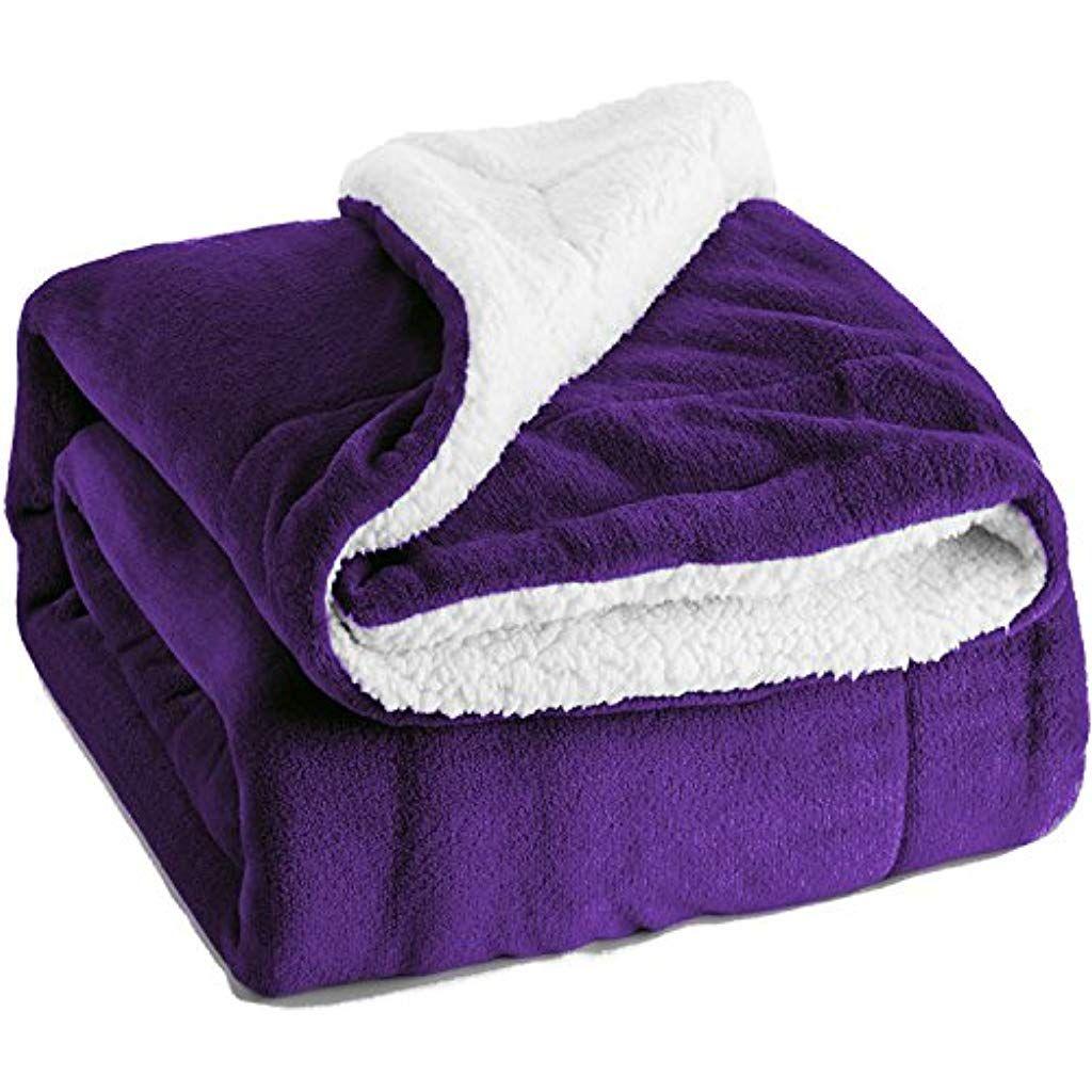 Bedsure Kuscheldecke Lila Zweiseitige Decke Aus Sherpa Fleece Xxl