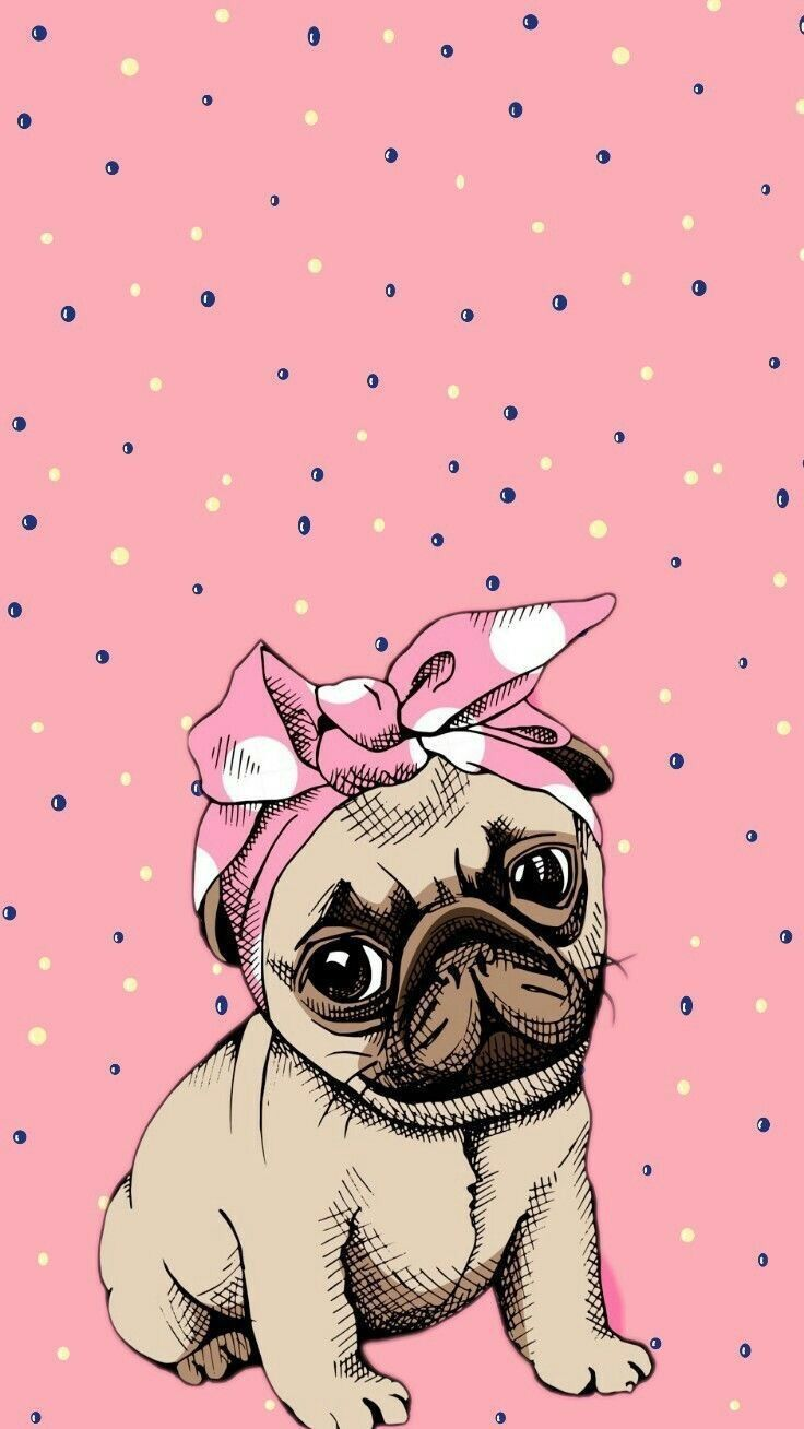 Cute Cartoon Pug Dog Which Would Look Great As An Adorable For Cute Cartoon Wallpapers For Your Cartoon Wallpaper Cute Cartoon Wallpapers Wallpaper Iphone Cute