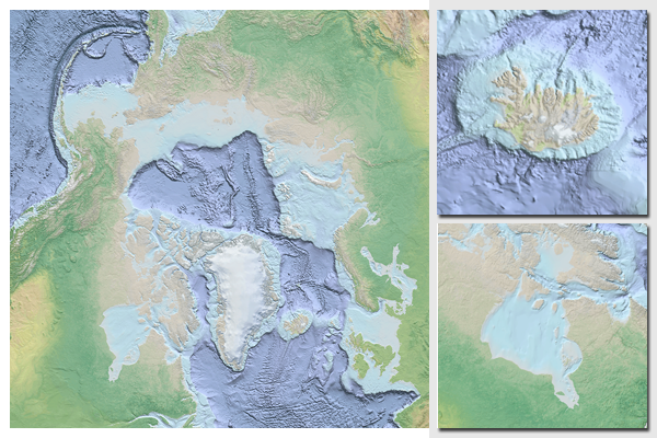 Map prepared as background image for web map application for marine and oceanographic sciences (ArcGIS Server and OGC WMS)    The map uses a Polar Stereographic projection, centered on the North Pole.    Global Mapper, ESRI ArcGIS and Adobe Illustrator were used to prepare the map. The resulting map was composited and rendered from various datasources that were merged into one dataset. Sources for the map were CleanTopo2, GEBCO, IBCAO and Natural Earth (cross-blended hypsography for land…