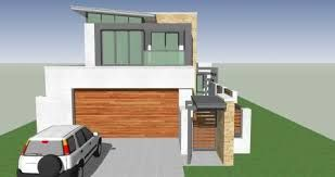 Image Result For Upward Sloping Block House Designs Modern House Facades Narrow House Plans House Design