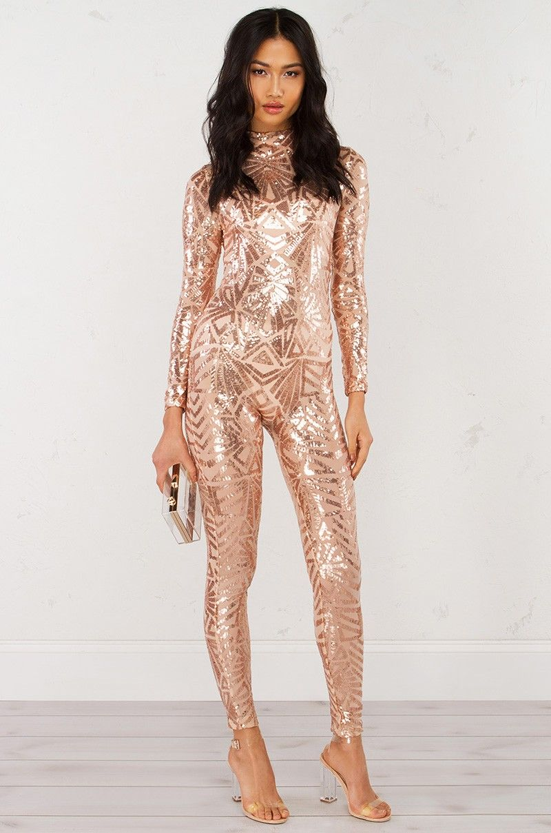 35fd6d8fffc3 front view Sequin Jumpsuit in Rose Gold