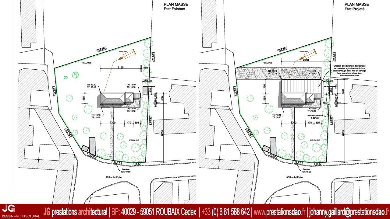 jg dessin architectural plan masse pour le permis de. Black Bedroom Furniture Sets. Home Design Ideas