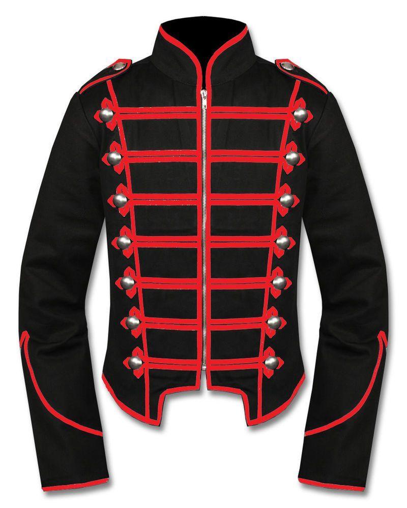 Men/'s Black White Red Steampunk Emo Punk Goth MCR Military Drummer Parade Jacket