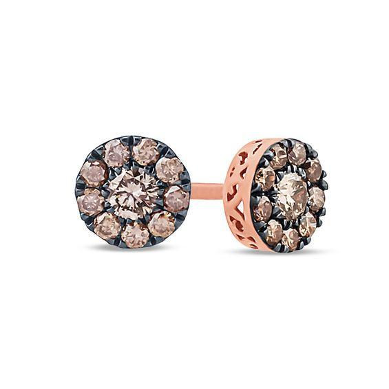 153b90660 1/4 CT. T.w. Champagne Diamond Frame Stud Earrings in 10K Rose Gold ...