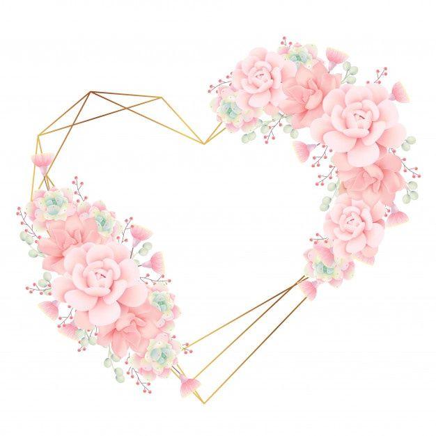 Miłość Kwiatowy Rama Tło Z Sukulenty