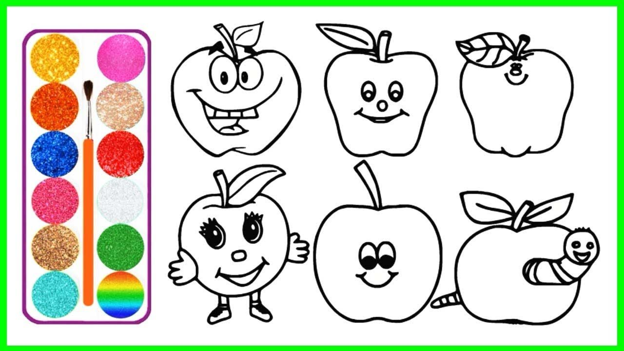 How To Draw 6 Apples Glitter Coloring Pages For Kids Video For Childr Coloring Pages For Kids Coloring Pages Drawings