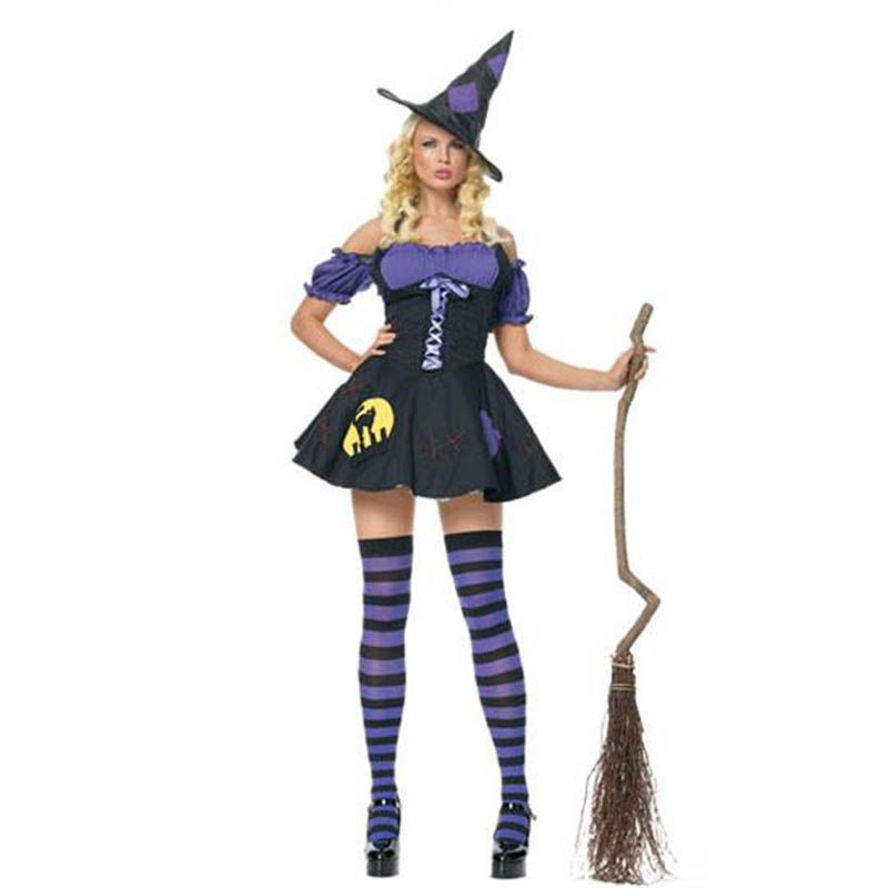 Women Wicked Witch Role Play Costume Halloween Outfit Hat Dress Tulle Uniform