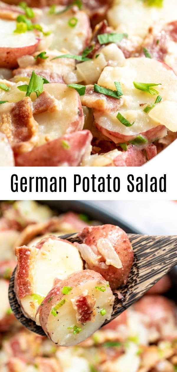 This traditional German Potato Salad is served hot or warm you can serve it cold though Its an easy potato salad recipe made with vinegar mustard and with bacon No mayonn...