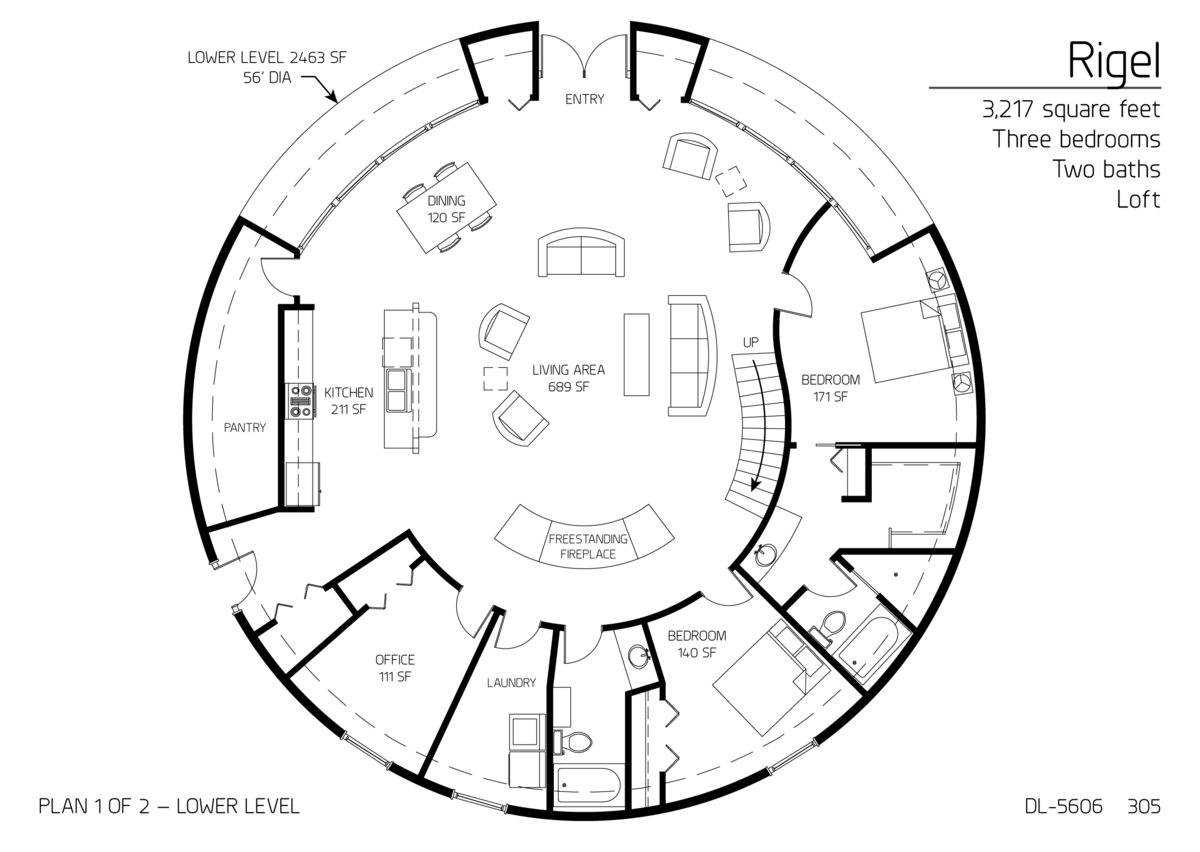 Floor Plan Dl 5606 Monolithic Dome Institute