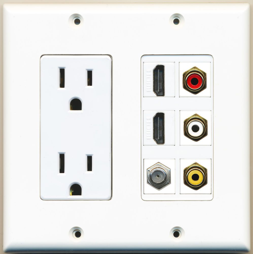 2 15amp Power Outlet 2 Hdmi 1 Coax 3 Rca Composite Video Wall Plate Hd Tv Cable Plates On Wall Tv Wall Recessed Outlets