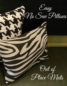 easy diy no sew pillows out of place mats, crafts, home decor, living room