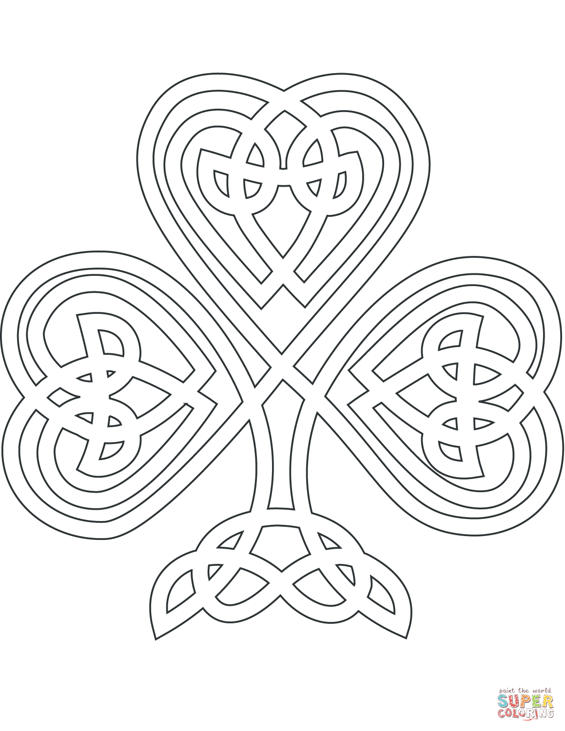 Celtic Style Shamrock Super Coloring Coloring pages