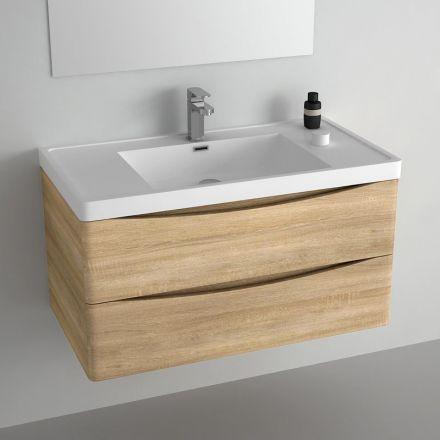 Meuble pour salle de bains en chêne clair livré avec vasque en - Renovation Meuble En Chene