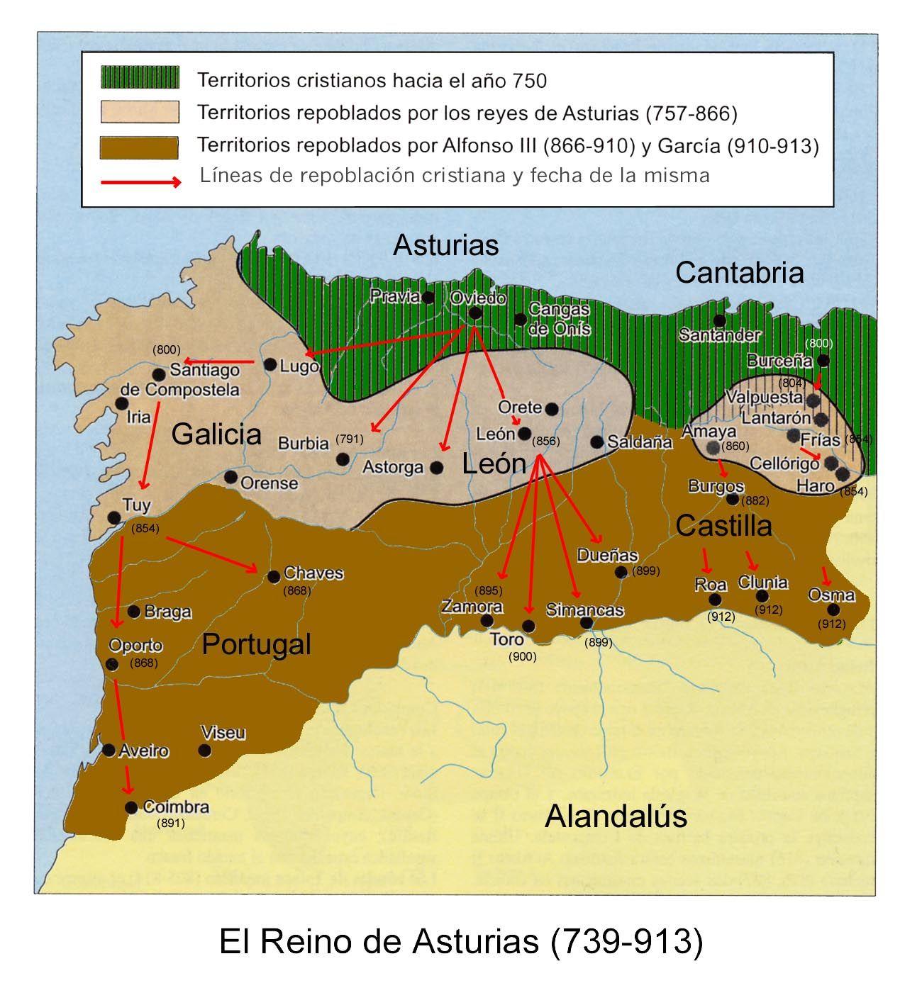 Mapa Reino De Asturias.El Reino De Asturias 739 913 Mapa De Geografia Mapa De Espana Historia De Espana
