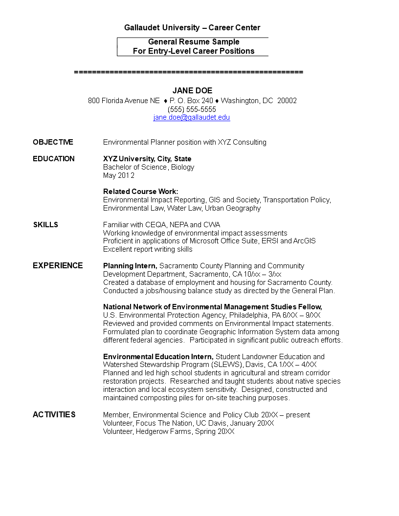 How To Grab Your Futures Employers Attention When You Are Applying For A New Job As An Environmental Studies Studen Entry Level Resume Resume Resume Templates