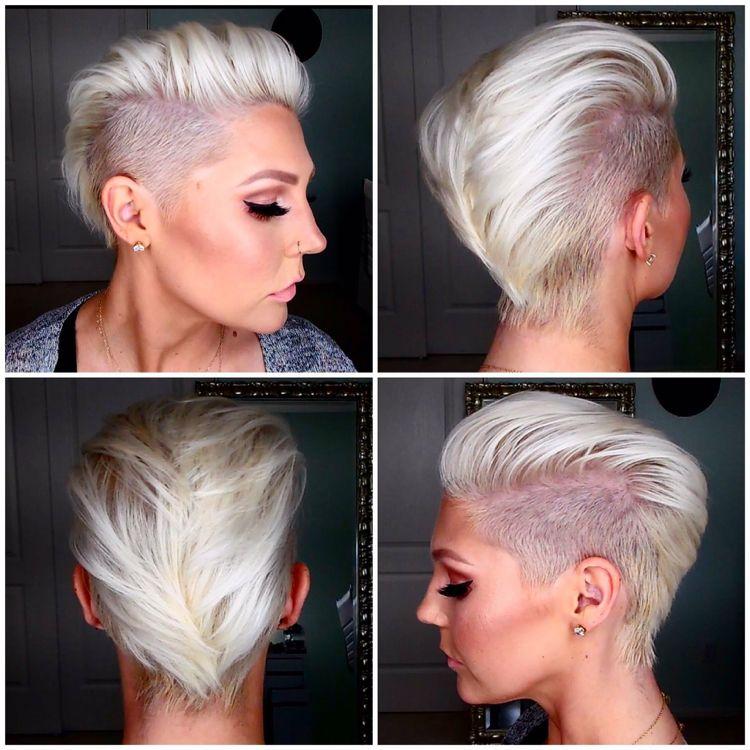 Iro Für Frauen Kurz Undercut Platinblond #hairstyles Frisuren