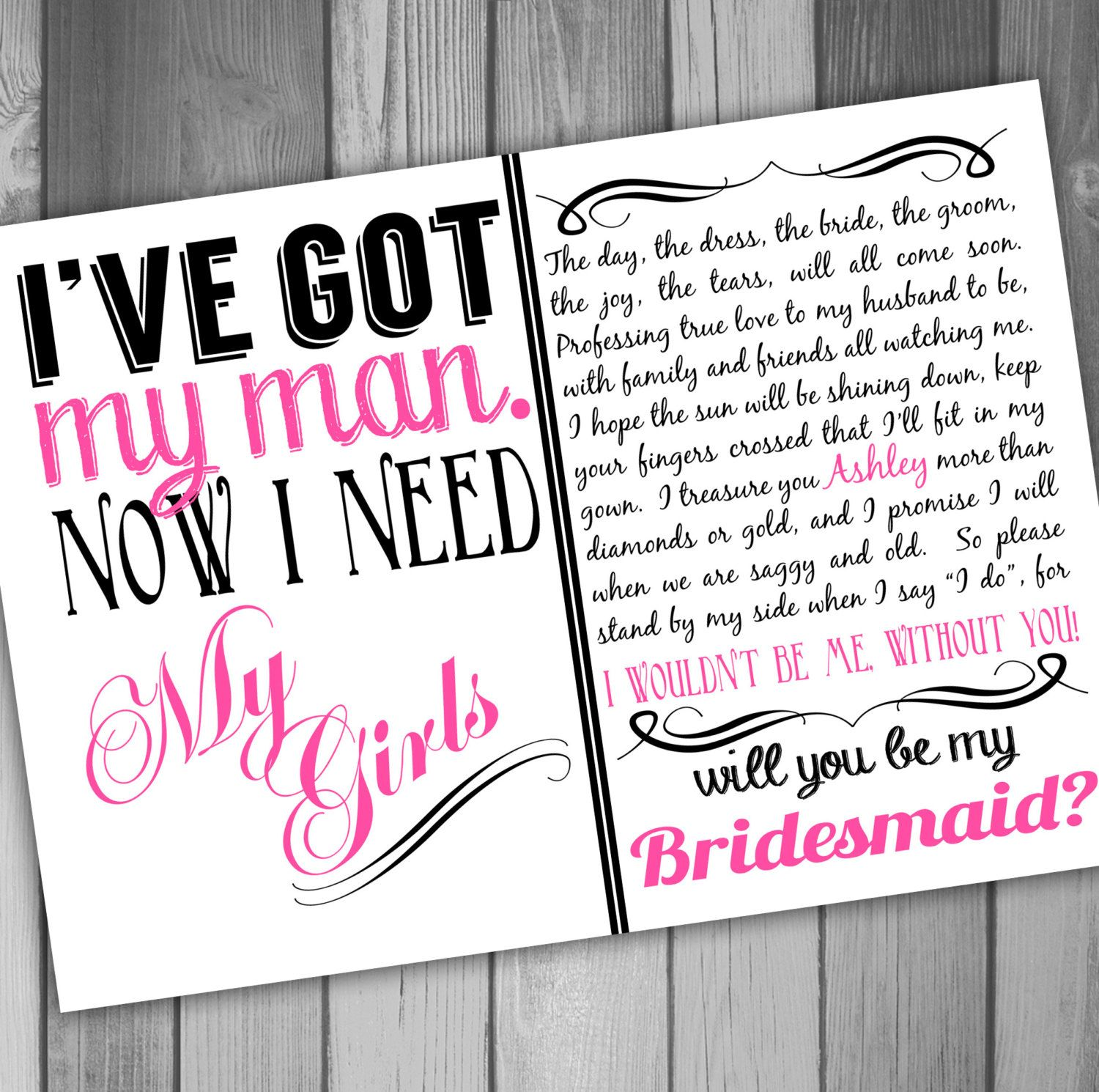 It's just an image of Vibrant Bridesmaid Proposal Printable
