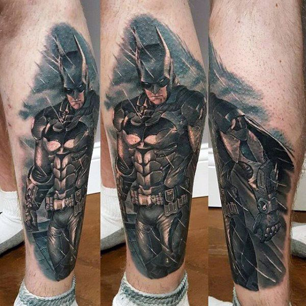 Mens Lower Leg Batman Realistic Tattoo Designs