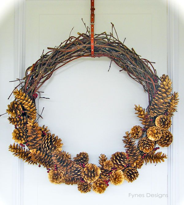 Handmade twig and pinecone wreath