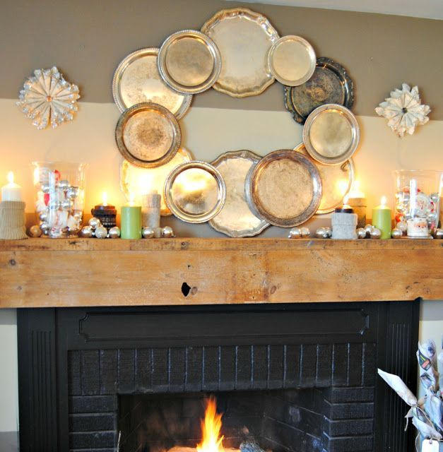 {Christmas Mantel} love the wreath of metal trays and the gray striped walls #graystripedwalls {Christmas Mantel} love the wreath of metal trays and the gray striped walls #graystripedwalls
