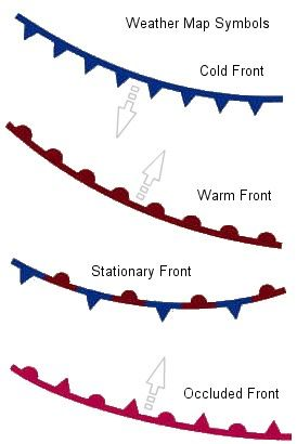 Stationary Front On A Weather Map.Weather Or Not Weather Map Symbols Earth Science Pinterest