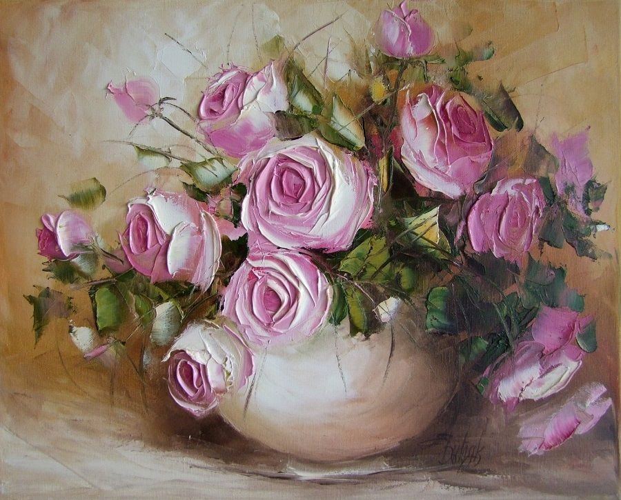 oil painting pink flower - photo #17