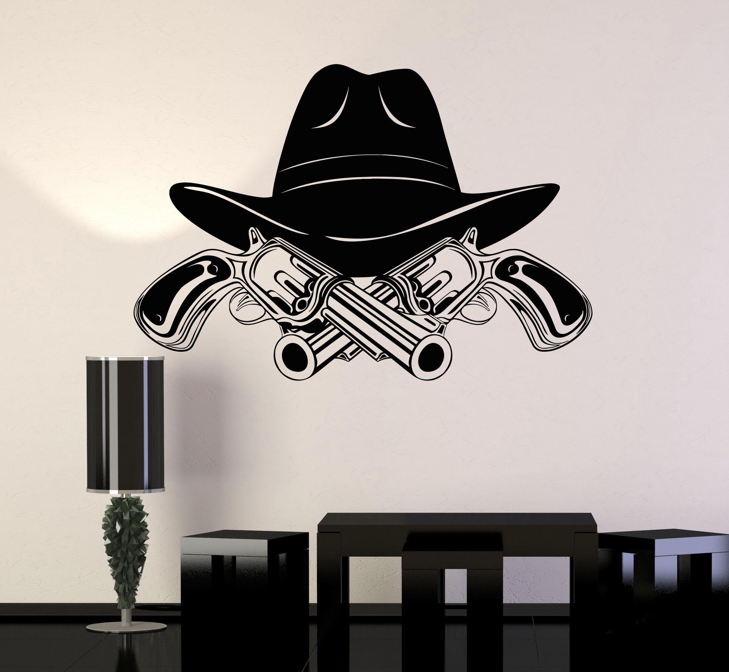 Vinyl Wall Decal Cowboy Hat Revolvers Wild West Boy Room Stickers ...