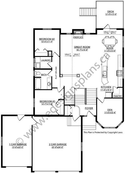 Plan 2004135: Modified Bi-Level, 3 car garage, open floor ...