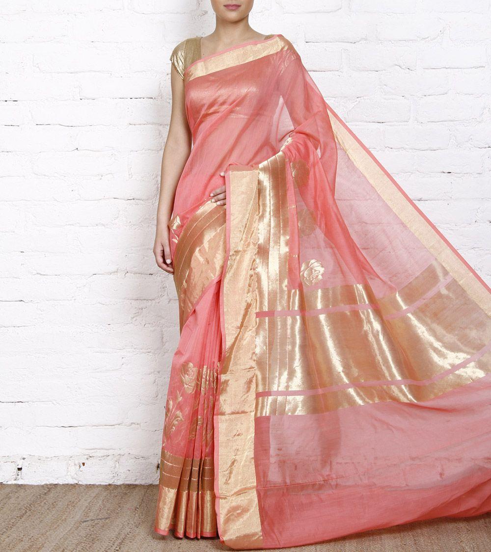 Peach Cotton Chanderi Saree | anarkali | Pinterest | Marrón, India y ...
