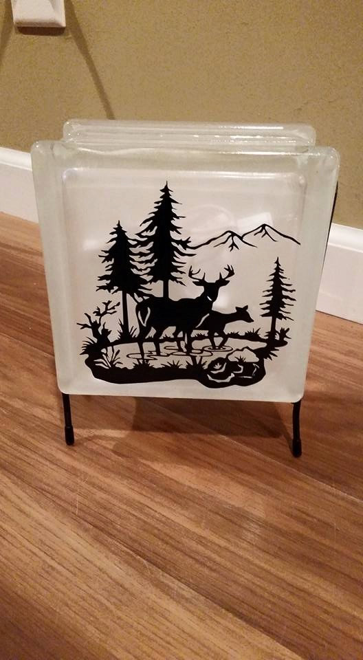 Deer Glass Block With Lights Night Light Man Cave Gift